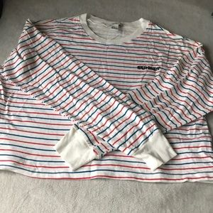 Forever 21  ''sunset'' striped small crew neck long sleeve top